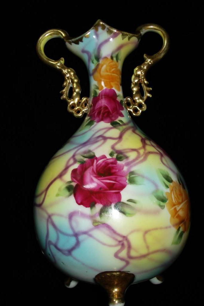 Hand Painted German Porcelain Vase c1920
