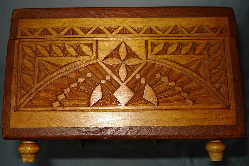 German Carved Box Monogram FF c19th