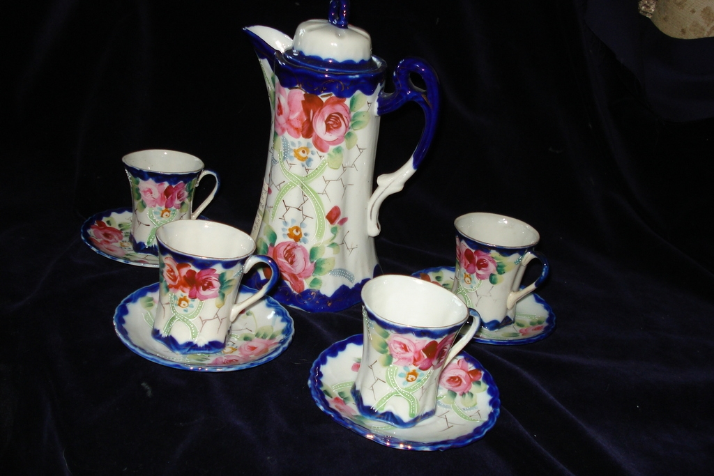 Nippon Porcelain Cobalt Chocolate Pot and 4 Cups c19th