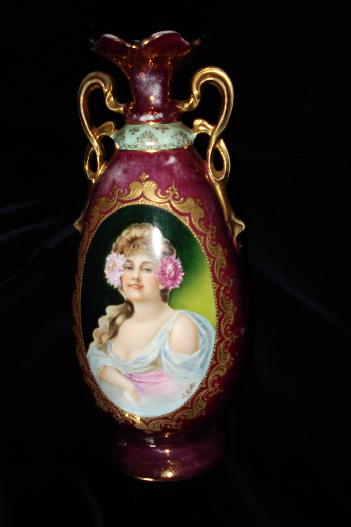 Royal Vienna Porcelain Hand Painted Signed Portrait Vase