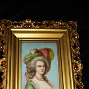 Miniature French Porcelain  Painting Marie Antoinette c19th