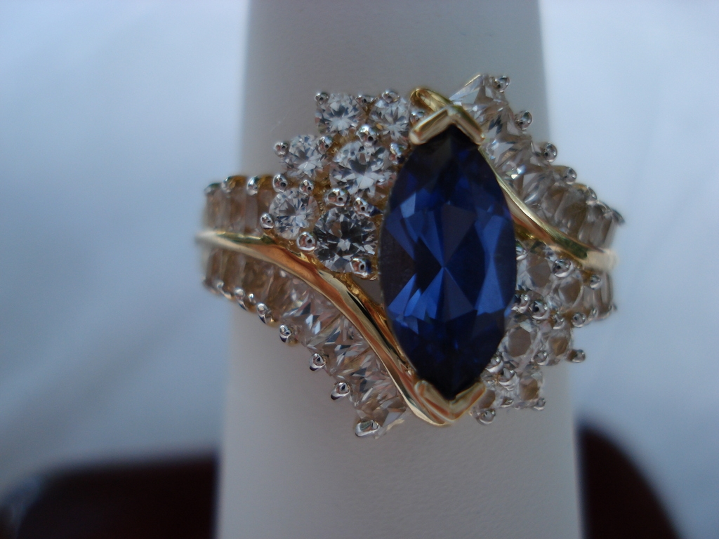 Blue and White Sapphire Marquis Cocktail 10kt Ring