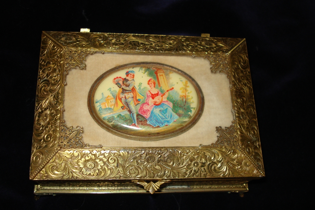 French Bronze Hand Painted Portrait Box c1900