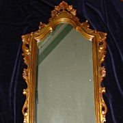 Vintage Hollywood Regency Wood Mirror c1930