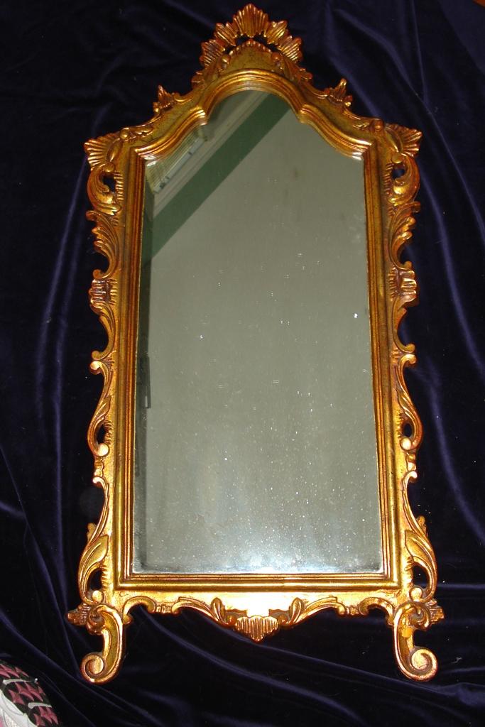 Vintage Hollywood Regency Wood Mirror c1930