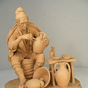 Vintage Clay Figure of A Potter signed R Verrella