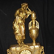 Figural French Spelter Gilt Clock c19th