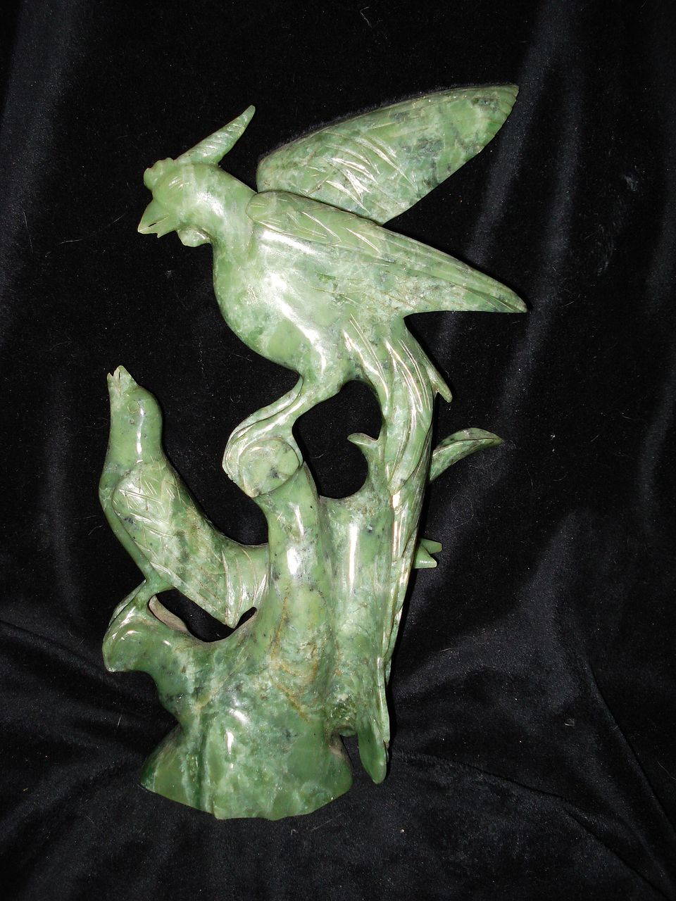 "Vintage Hard Stone Jade Chinese Carving of Two Birds 10"" Tall"