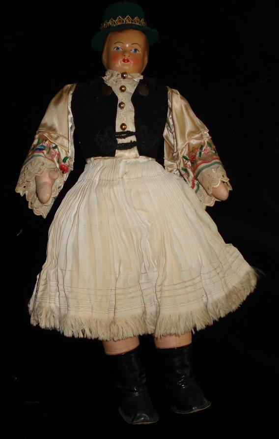 Vintage Hand Made Austrian Cloth Doll. c1920