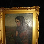 Portrait Of An Irish Maiden On Canvas c19th