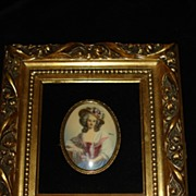 French Portrait Of Woman  With Wooden Frame