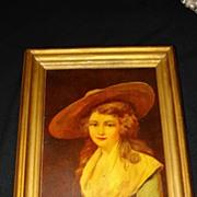 Large  German Porcelain Plaque Duchess Of Devonshire 19th
