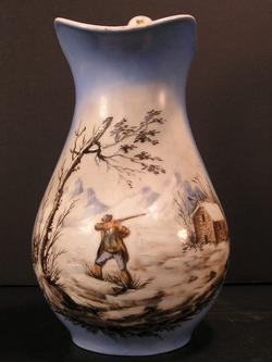 Old Paris Faience French Hand Painted Hunting Jug