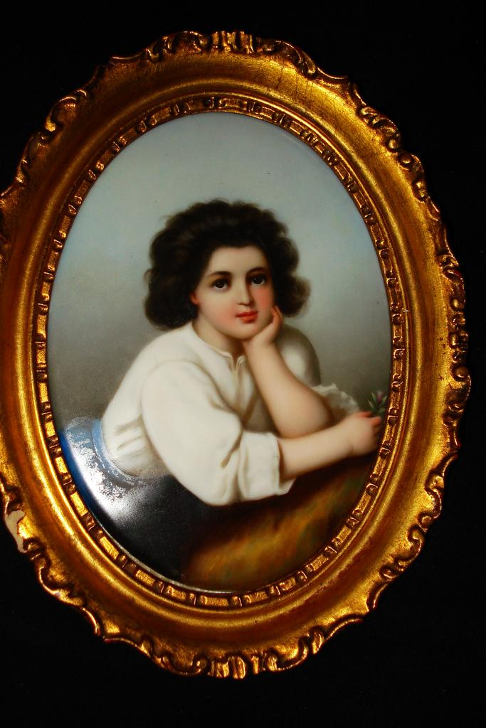 Large German Porcelain Hand Painted Plaque of Young Girl