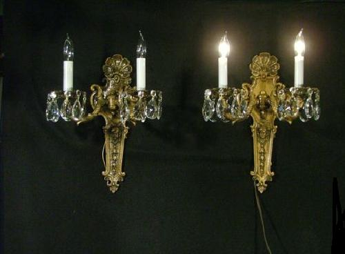 Vintage  French Bronze Electric Wall Sconces
