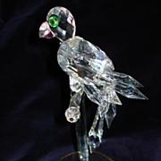 "Vintage Large Swarovski Crystal Parrot On Perch 9""H"