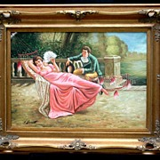 Italian Painting of Romantic Love (signed A Bossetti)oil on board