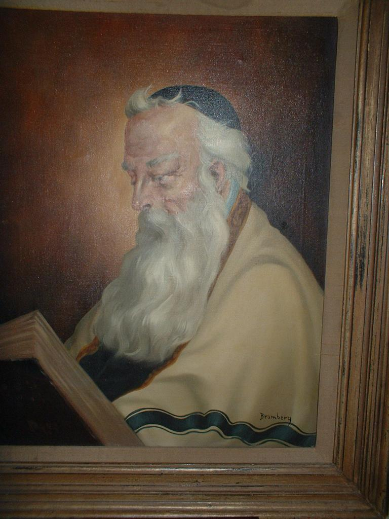 Vintage Oil On Canvas Of a Rabi signed Bromberg