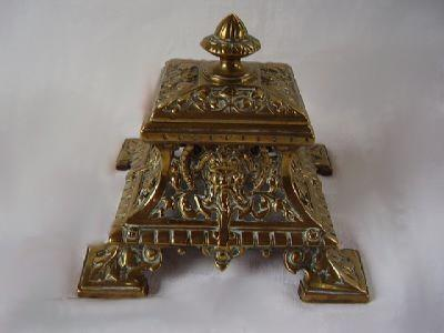 Ornate Rococo Europeon Brass Footed Inkwell