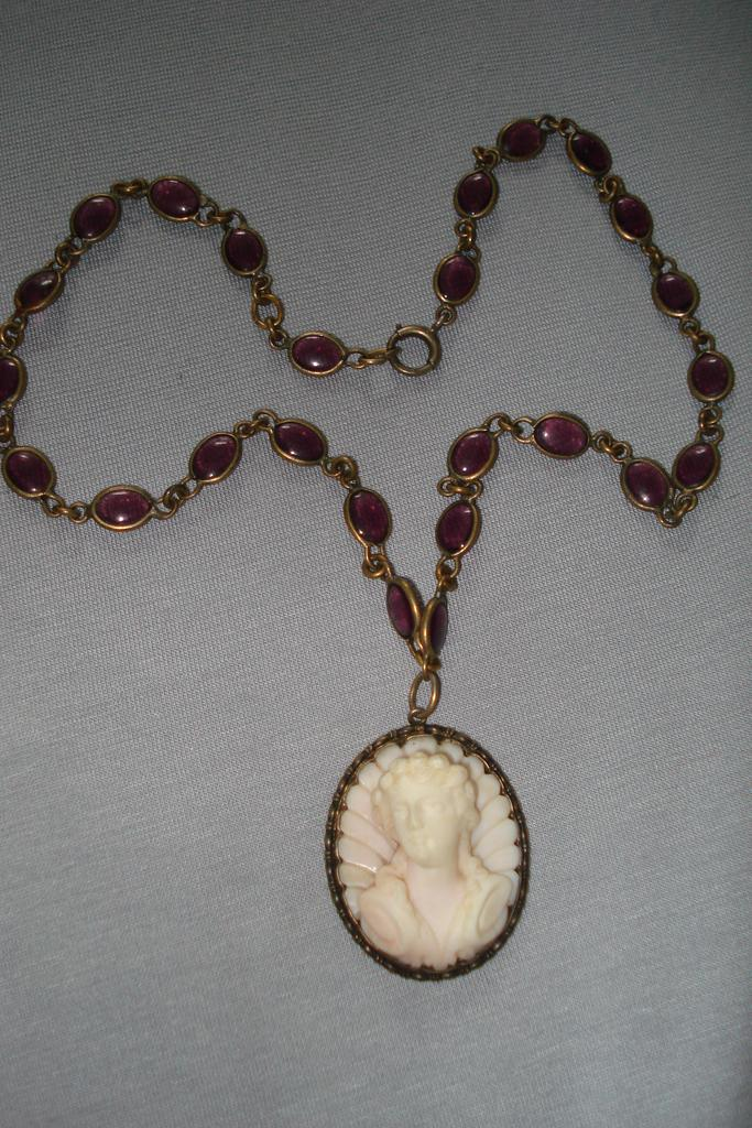 Bohemian  Museum Quality Agate Hand carved Cameo Necklace