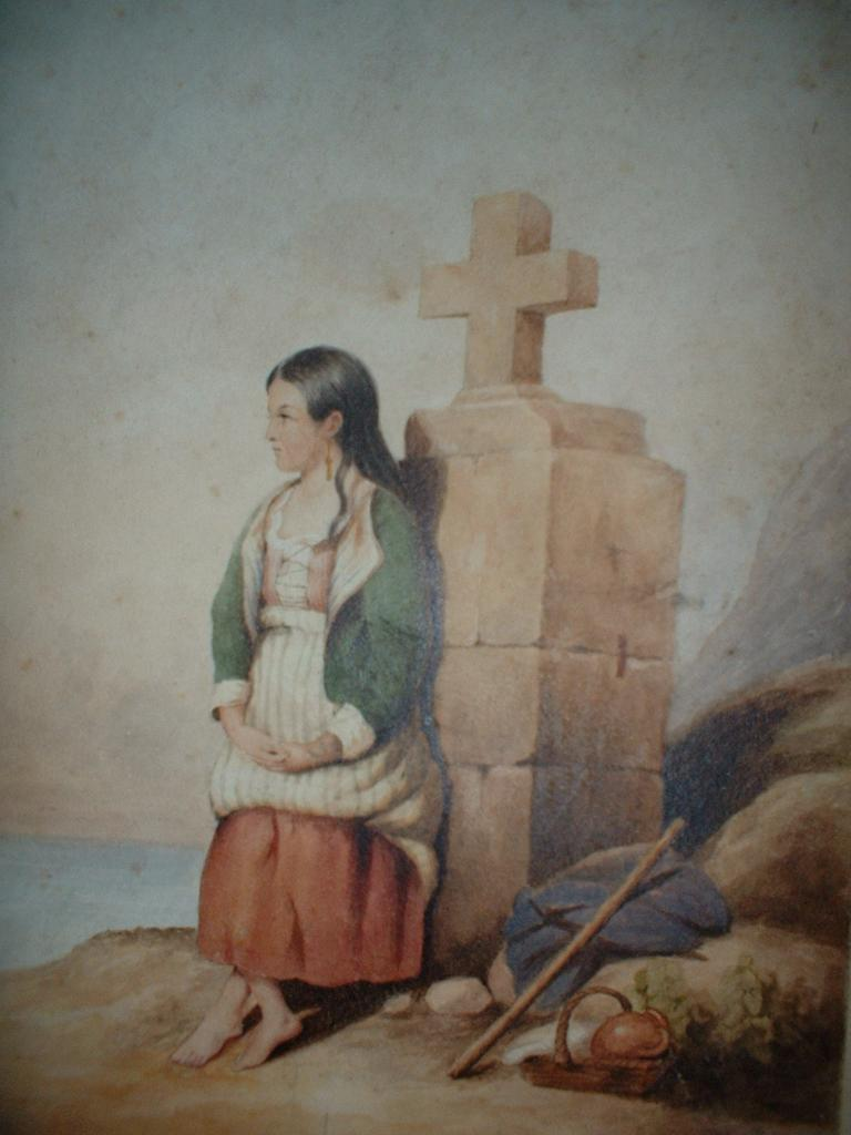 Listed English School Water Colour Painting Child  In Thought  M. A. Adler c19th
