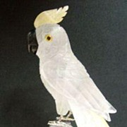"Hand Carved 12 2/3"" Crystal Quartz Cockatoo on Amethyst Geode Base"