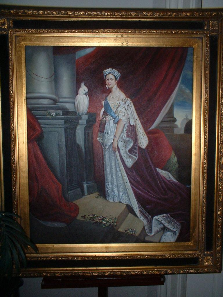 rare queen victoria oil on canvas framed painting
