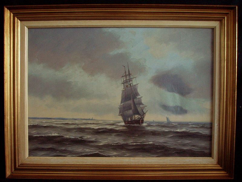 Seascape Painting Tall Ship On Sea