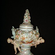 German Porcelain Pot Pourri Cherub Urn high relief c19th