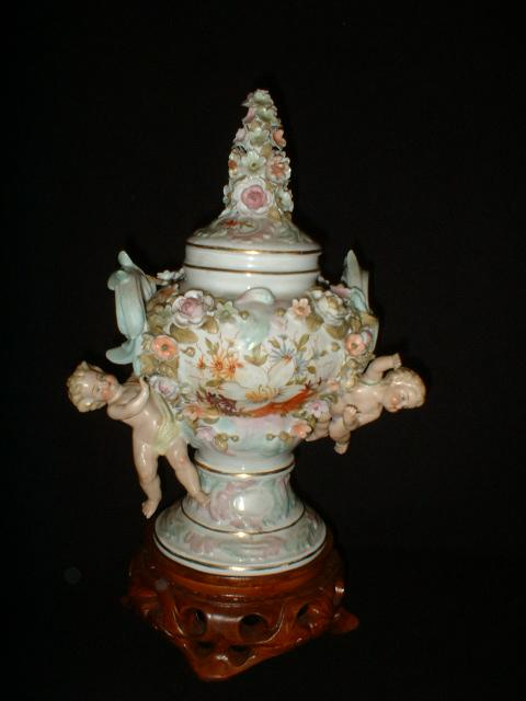 German Porcelain Pot Pourri Cherub Urn high relief c19th