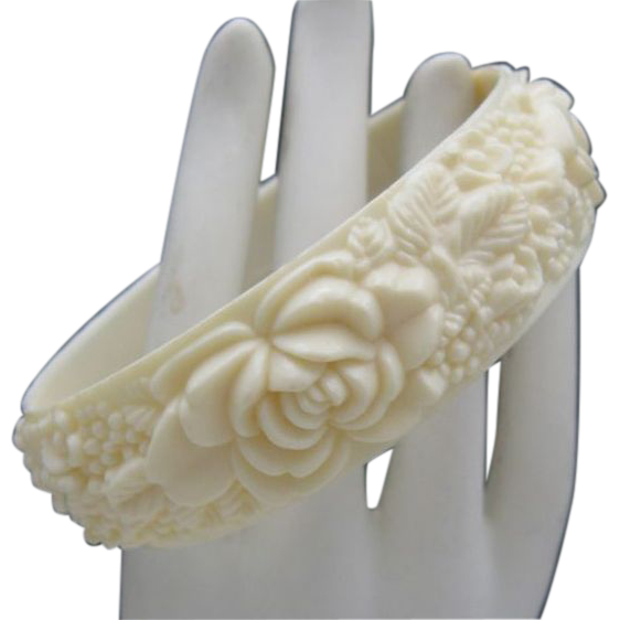 Ivory Celluloid Bracelet Carved English Garden