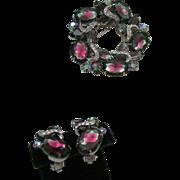 Juliana Watermelon Tourmaline Brooch Earrings Set