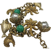 Vintage 1960's Sarah Coventry Peking Glass Fish Charm Bracelet