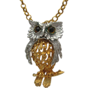 Tancer 11 Reticulated Owl Pendant Necklace c1970's