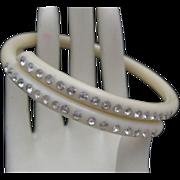 Tubular Ivory Celluloid Rhinestone Crossover bracelet