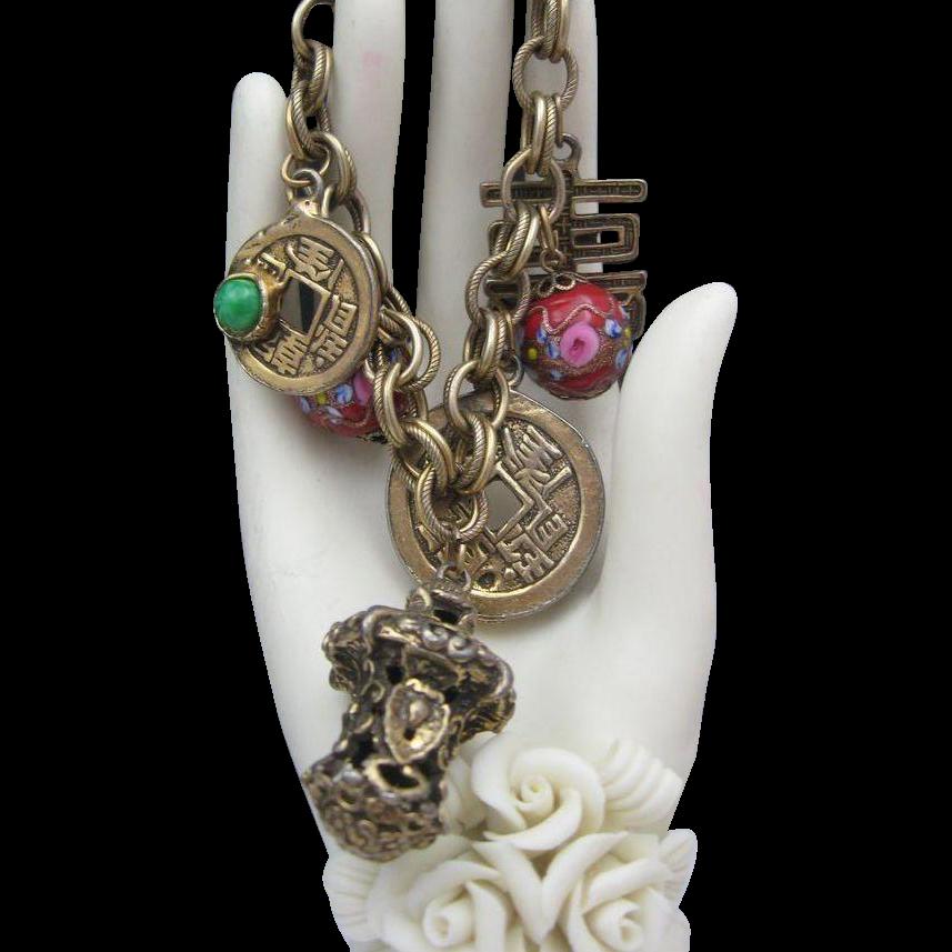 Oriental Themed Mid Century Charm Bracelet