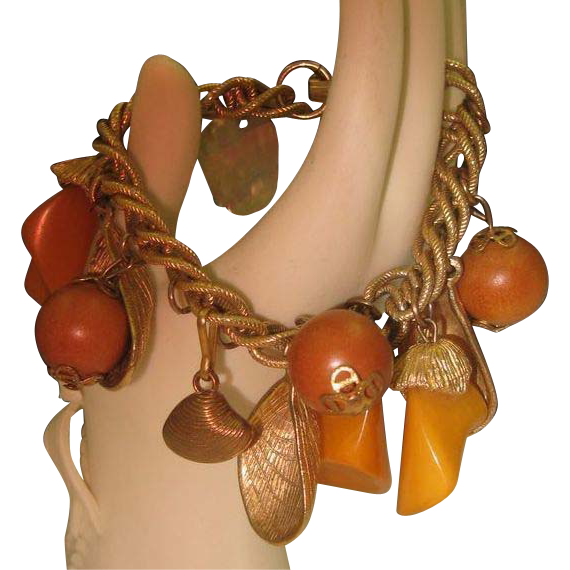 Butterscotch Bakelite Charm Bracelet Sea Shells