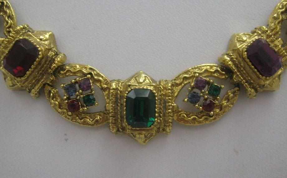 Edwardian Style Woven Rhinestone Necklace