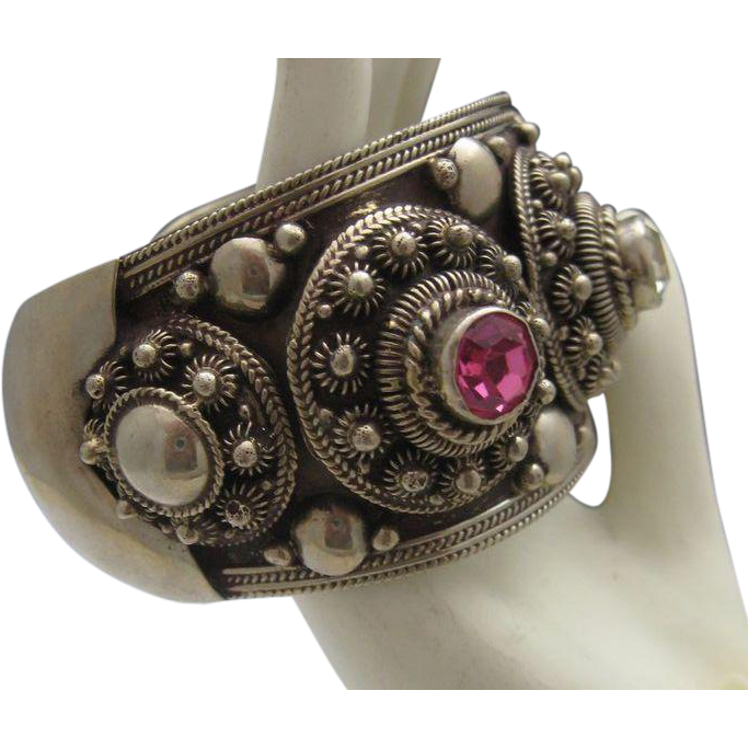 Stunning Sterling Silver Siam Cuff Bracelet Mid Century