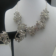 c1960 Cocktail Necklace Earrings Clear Rhinestones
