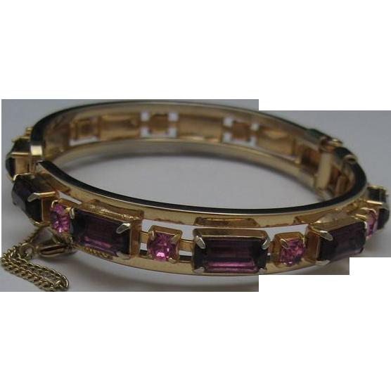 Amethyst Bracelet c1970  Clamper Style