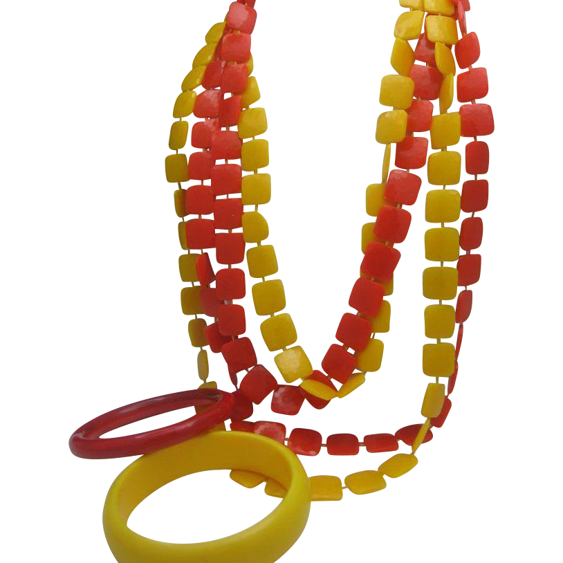 Coro Plastic Disc Necklace Matching Bracelets c1970