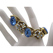 Huge Sky Blue Rhinestone Forget me Not C1960 Bracelet