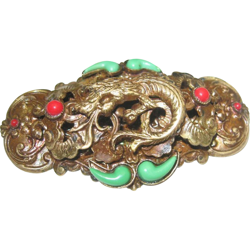 Max Neiger Czech Art Deco Serpent Brooch 2  3/4 inchs