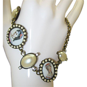 Marked DeLux Limoge Portrait Glass Bracelet