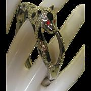 Pave Rhinestone Studded Leopard Bracelet c1980
