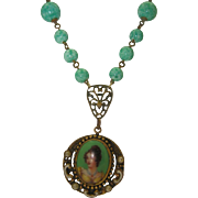 Bohemian Peking Glass Portrait Pendant Necklace