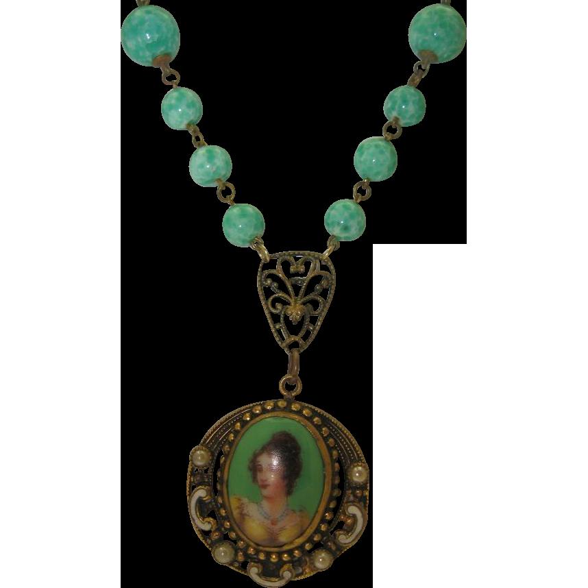 Bohemian Peking Glass Portrait Pendant Necklace