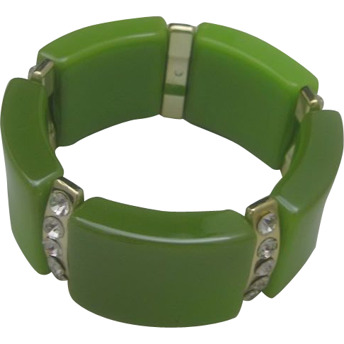 C1960 Apple Green Rhinestone Stretch Bracelet