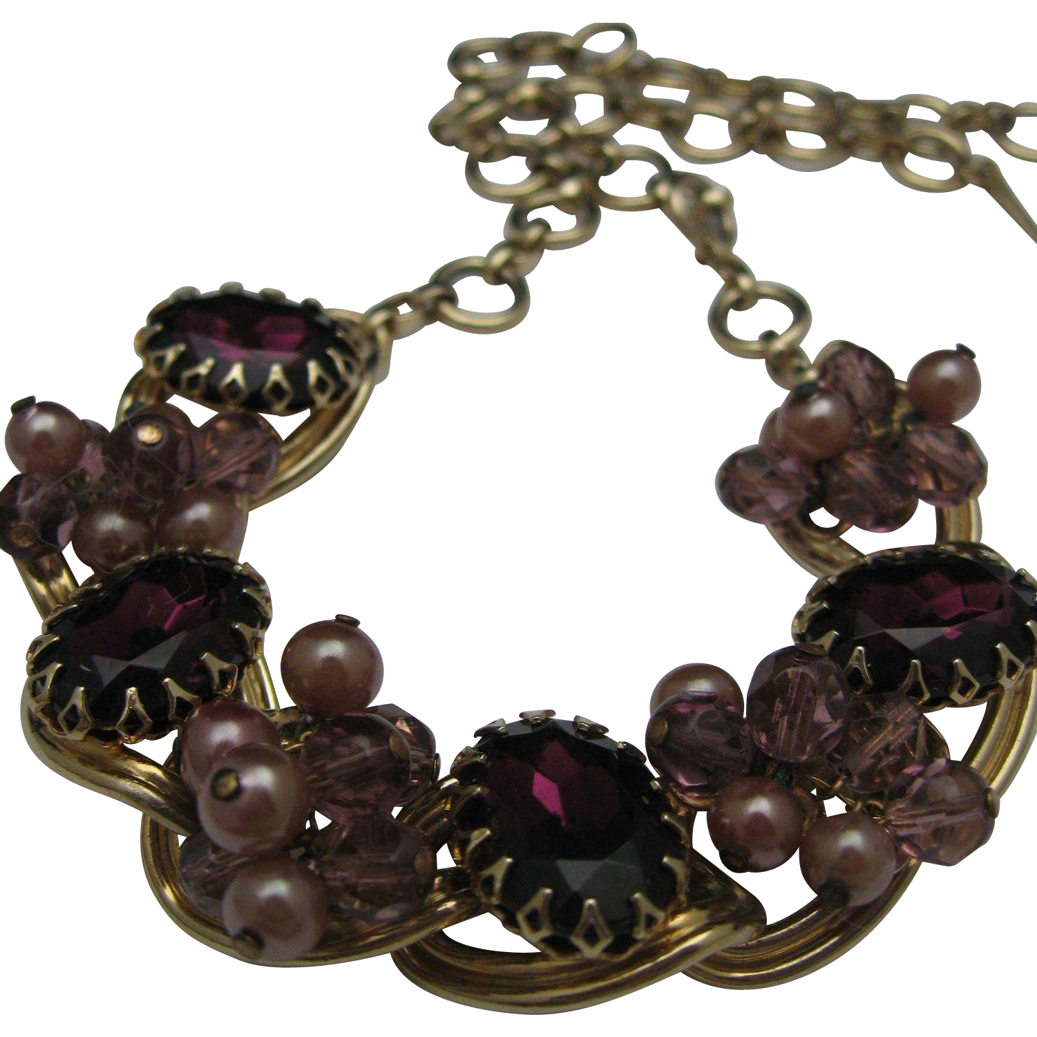 Lovely Amethyst Link necklace 1960